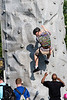 A rock climbing wall was erected on the Great Lawn at Waterfont Park for the biannual Hike, Bike & Paddle on Monday morning. 5/28/18