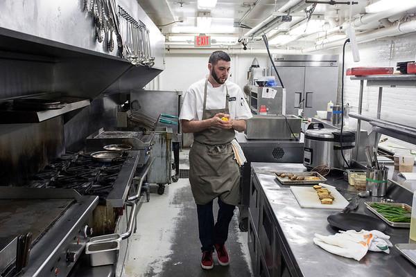 MilkWood chef Glenn Dougan prepares pan seared fish with gochujang romesco and bourbon brown butter. 5/31/18