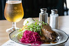 The sauerbraten at Monnick Beer Company is sour beef pot roast, pickled red cabbage, potato dumpling, gingersnap sauce, and creme fraiche. 7/2/18