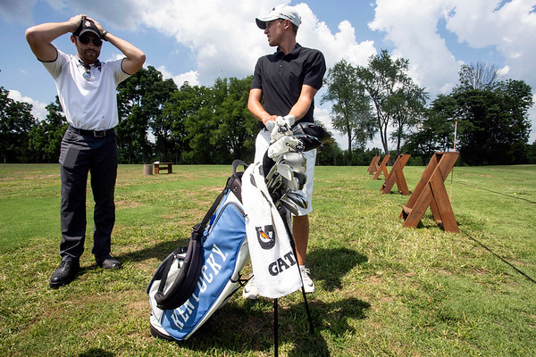 St. X and UK grad Cooper Musselman, along with his caddie Lucas Jones, practice at Persimmon Ridge Golf Club in advance of the Barbasol Championship. 7/9/18