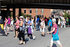 Members of the Presbyterian Women in the PC(USA) crossed Main Street near 9th Street during a Friday afternoon march. 8/3/18