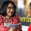 UofL president Dr. Neeli Bendapudi handed out tuition checks to the student-workers at the UPS Worldport Hub on Monday night. 8/6/18
