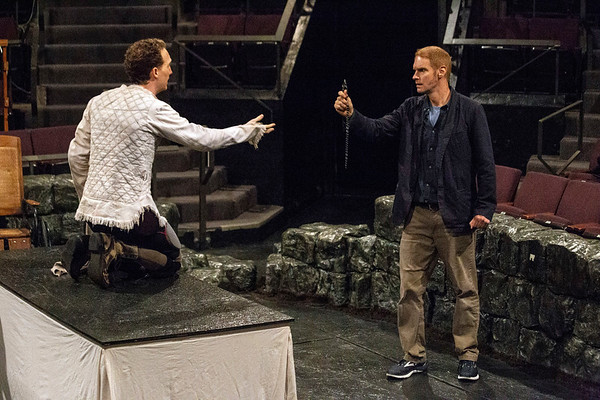 Grant Goodman plays Van Helsing to Neill Roberston's Renfield during rehearsal for Dracula at Actors Theatre. 8/30/18