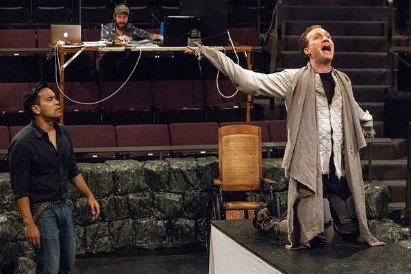 Kurt Uy and Grant Goodman rehearse a scene from Dracula at Actors Theatre on Thursday afternoon. 8/30/18
