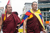 A pair of monks walked along with the delegation from Tibet in the WorldFest parade on Saturday. 9/1/18