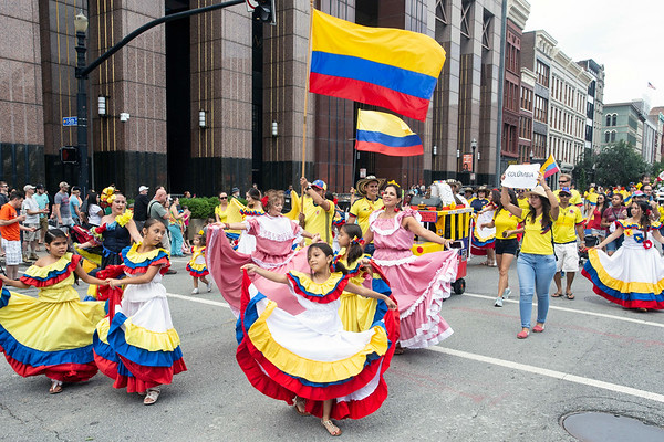 A delegation of tiny dancers marched for Colombia in the WorldFest parade on Saturday. 9/1/18