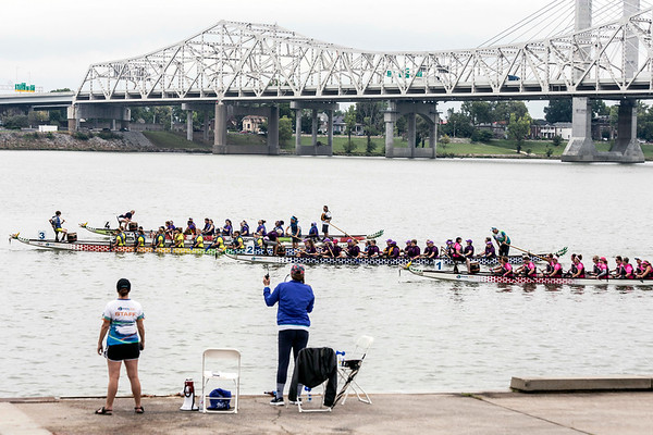 Four teams lined up for the start of another race during the 4th annual Louisville Dragon Boat Festival at Waterfront Park on Saturday morning. 9/8/18