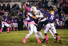 Male quarterback Garrett Dennis is pounded by the St. X defense resulting in a pick-6 touchdown. 10/12/18