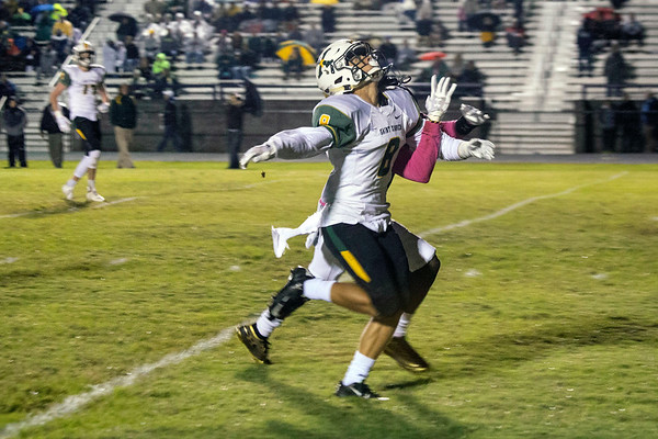 St. X defender Desmond Andrews-ogbogu breaks up a pass play against Male on Friday night. 10/12/18