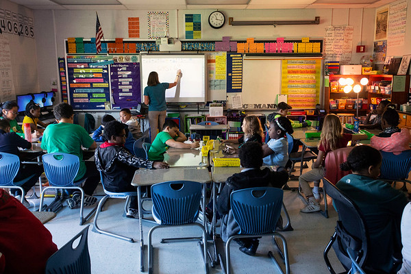 Students learn the new way of doing math at Alex R. Kennedy Elementary School. 10/19/18