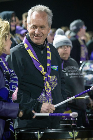 Louisville mayor Greg Fischer joins the rowdy fanbase at the Louisville FC playoff game at Slugger Field on Saturday night. 10/20/18