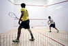 "Richard Millman, the squash pro at Scenic City Squash in Chattanooga, takes on Kudzaishe ""Kay Zee"" Sitshebo from Indianapolis during a heated match at the Louisville Boat Club. 11/10/18"