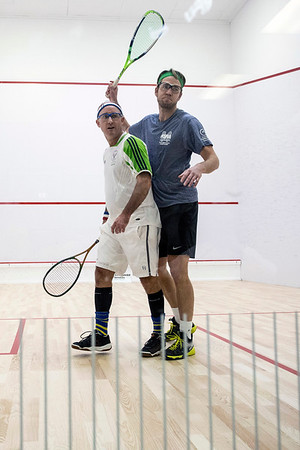 Jay Hatcher and Kevin Singerman jockey for position in the center of the court during a squash match at the Louisville Boat Club. 11/10/18