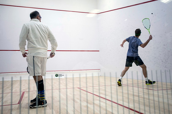 Jay Hatcher and Kevin Singerman take each other on in a contentious squash battle at the Louisville Boat Club. 11/10/18
