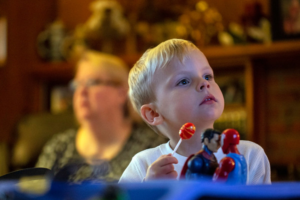 David Williams Saleh plays with his toys while watching TV in the safe and comfortable surroundings of his Hurstbourne home. 11/12/18