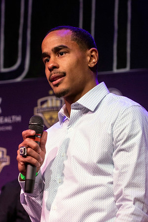 LouCity FC midfielder George Davis IV spoke during a team championship celebration at Headliners on Tuesday. 11/13/18