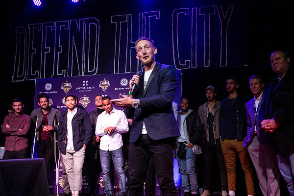 LouCity FC defender Sean Totsch joked with the crowd during a championship celebration on Tuesday night at Headliners. 11/13/18