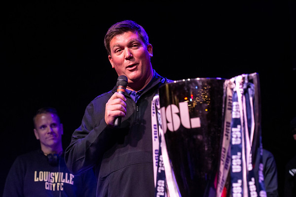 LouCity FC president Brad Estes takes his turn at the mic during a Tuesday night celebration for the team's back-to-back titles. 11/13/18