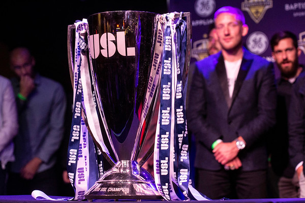 The USL trophy was on full display for the fans during a LouCity FC championship party at Headliners on Tuesday night. 11/13/18