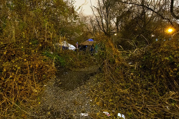 A homeless camp near railroad tracks in Butchertown prepares for one of the first frigid nights of Winter 2018. 11/26/18
