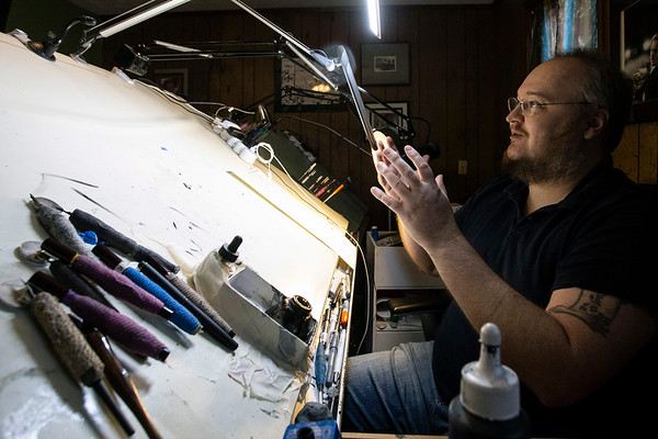 Marvel comic book artist Jay Leisten works from a studio in the basement of his Louisville home. 12/4/18