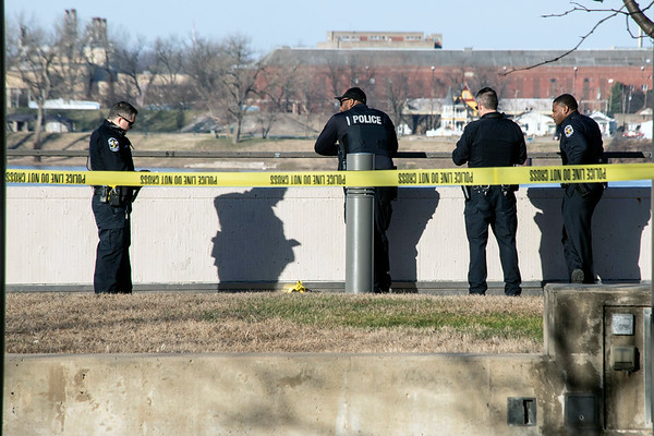 Members of the LMPD secure a site on the Belvedere overlooking a fatal accident on I-64 Monday afternoon. 12/24/18