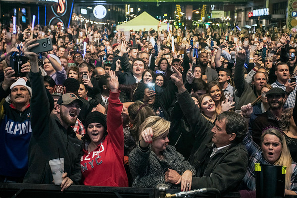 Fourth Street Live was packed with revelers ready to ring in the new year on Monday night. 12/31/18