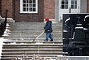 Workers cleared stairwells and sidewalks on the UofL campus after Louisville received its first snowfall of 2019 on Saturday. 1/12/19