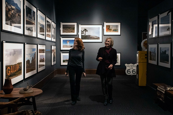 Photographer Linda Bruckheimer gave Courier Journal reporter Kirby Adams a tour during the installation of her latest Frazier History Museum exhibit. Roadmap to Heaven will feature images inspired by Bruckheimer's childhood journey from Kentucky to California with her family. 1/15/19