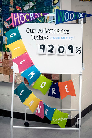 An daily attendance tracker greets guests to Gilmore Lane Elementary. 1/17/19