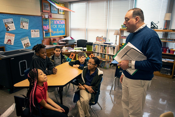 Gilmore Lane Elementary principal Samuel Cowan briefs some of his best students about the closing of the school. 1/17/19