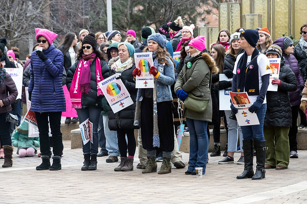 Protest signs and pink hats could be found throughout the crowd during the annual Louisville Women's Rally on Sunday at the Ali Center. 1/27/19