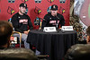 Logan Wyatt and Tyler Fitzgerald answer questions during the annual UofL baseball media day on Tuesday. 2/5/19