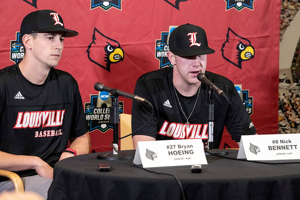 Byran Hoeing and Nick Bennett spoke about the upcoming season during the UofL baseball media day at Patterson Stadium. 2/5/19