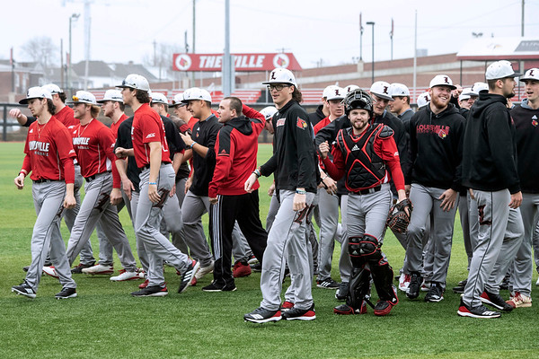 The 2019 UofL baseball team prepared for its upcoming season on a rainy and cool Tuesday afternoon at Patterson Stadium. 2/5/19