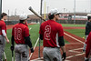 UofL hitters Tyler Fitzgerald and Pat Rumoro wait to take a turn at bat during practice on Tuesday. 2/5/19
