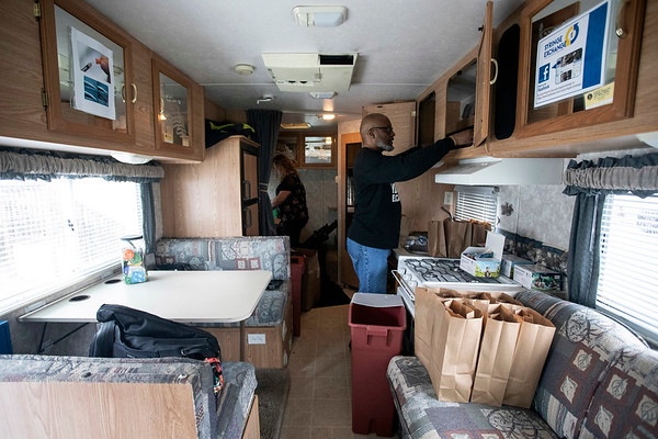 Volunteers of America manager Donald Davis prepares to distribute clean needles from an RV parked on Bicknell Avenue every Wednesday afternoon. 2/6/19