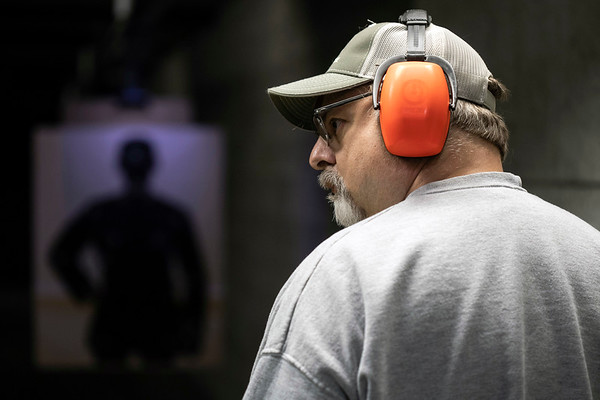 Courier Journal reporter Joe Gerth prepared to fire at a target during a conceal and carry class at Openrange in Crestwood on Saturday morning. 2/16/19