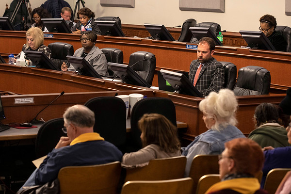 Members of the Louisville Metro Council opened the chamber floors to the public on Thursday night as 46 citizens addressed concerns about recently proposed tax hikes and budget cuts. 2/28/19