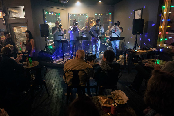 The Lou Orleans Brass Band entertained the crowd at Butchertown Social as part of a Fat Tuesday celebration. 3/5/19