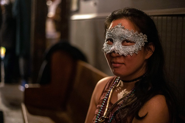 Christine Choi wore a Mardi Gras mask as part of the Fat Tuesday celebration at Butchertown Social. 3/5/19