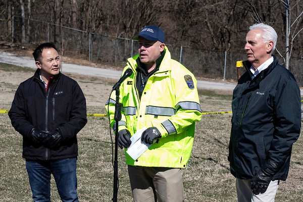 Louisville Metro Emergency Services director Jody Meiman, alongside Louisville Zoo director John Walczak and Louisville Mega Cavern VP Charles Park, addressed the media on Wednesday afternoon about a sinkhole found on the property earlier in the day. 3/6/19
