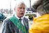 John Chamberlain of the Ancient Order of Hibernians instructs his team that there will be 30-minute weather delay at the St. Patrick's Parade. 3/9/19