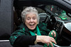 2019 Irish Person of the Year and 46th Grand Marshall Christy Brown distributed green beads along the route of the St. Patrick's Parade on Saturday. 3/9/19