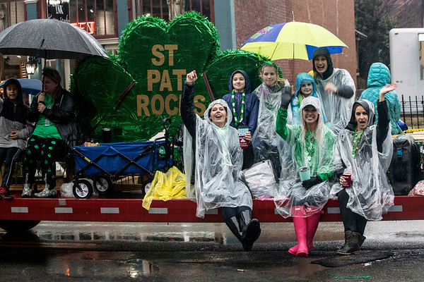 A group from St. Patrick School waved to revelers during the annual St. Patrick's Parade in the Highlands on Saturday. 3/9/19