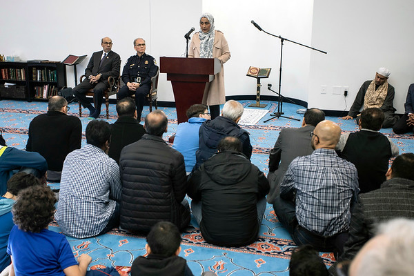 Several local Muslim leaders, along with LMPD Chief Steve Conrad, were featured speakers during a prayer service at the Muslim Community Center of Louisville on Westport Road. 3/16/19