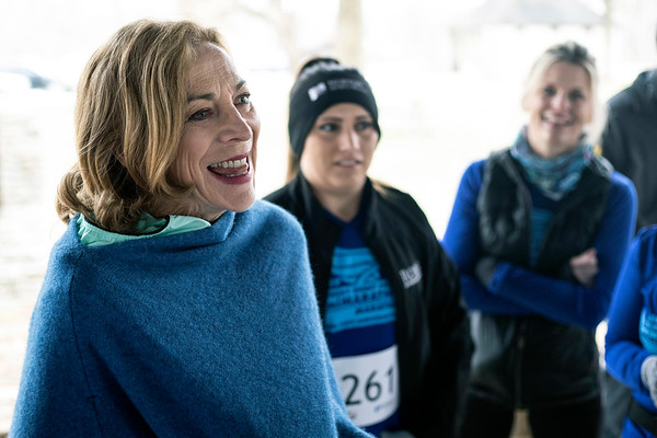 Kathrine Switzer, who in 1967 became the first woman to run the Boston Marathon as a numbered entrant, met with fellow runners near Hogan's Fountain in Cherokee Park on Thursday afternoon. 3/21/19