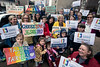 Signs of many colors were hoisted during the annual Catholics for LGBTQ Fairness Pilgrimage. 3/24/19
