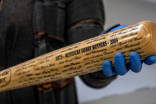 A Louisville Slugger bat with the names of all the past Kentucky Derby winners was gifted to the Derby Museum in 2004 from the Slugger Museum. 3/26/19