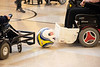 A slightly larger ball is used to play powerchair soccer. 4/20/19